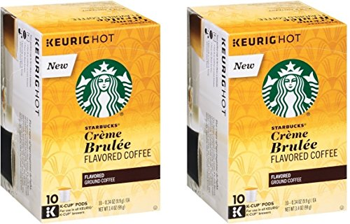 Starbucks Crème Brulée Flavored Blonde Roast Single Cup Coffee for Keurig Brewers, 10 Count - Pack of 2