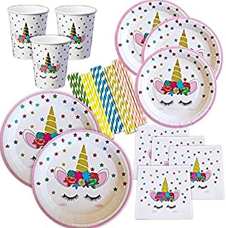 Unicorn Plates, Napkins and Cups with Gold Foil Serves 24; 24 Dinner Plates 24 Dessert Plates 25 Luncheon Napkins and 24 Cups and Straws for Birthday Party Supplies Baby Shower Decorations!