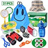 Outdoor Explorer Kit - 21 Pack Kids Bug Catcher Toys Gifts for 3 4 5 6-10 Years Old Boys Girls Adventure Kit with Binoculars, Hat, Mini Fan, Magnifying Glass, Flashlight