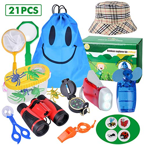 Outdoor Explorer Kit - 21 Pack Kids Bug Catcher Toys Gifts for 8+ Years Old Boys Girls Adventure Kit with Binoculars, Hat, Mini Fan, Magnifying Glass, Flashlight