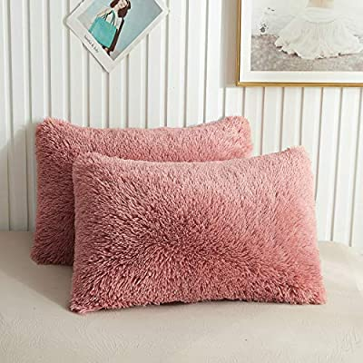 XeGe Faux Fur Throw Pillow Cases Plush Shaggy Ultra Soft Pillow Cover Fluffy Crystal Velvet Decorative Pillowcases Zipper Closure?Set of 2(King, Old Pink)