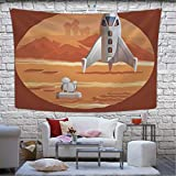 Hitecera Vector jeffcyb Rocket Preparing for Launch Tapestry Wall Hanging,061380...