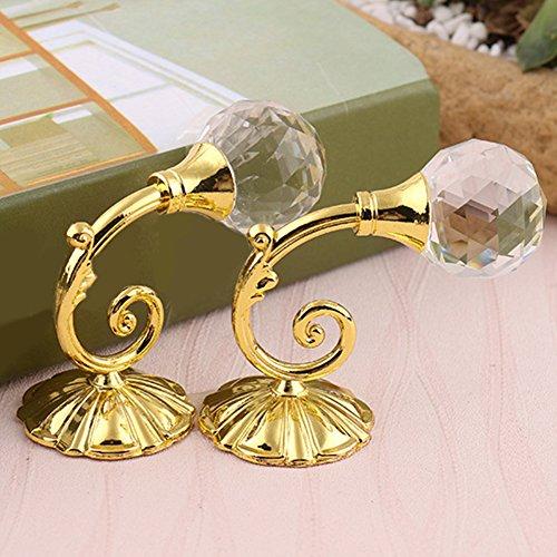 LNIMIKIY 2 Stück Metall-Kristallglas-Gardinen-Halterungen, Wandmontage, Raffhalter, Vorhanghalter, Schnalle, Ring zum Aufhängen (Gold)