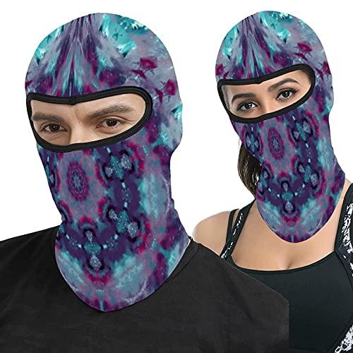 Lesif Teal Purple Magenta Mandala Full Face Ma-sk Hood Headwear Breathable Balaclavas for Outside Sports Hunting Cycling Motocycling Men Women