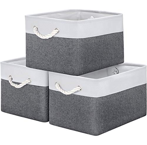 WISELIFE Storage Basket Bins [3-Pack] - Large Collapsible Storage Cubes Organizer for Shelf Closet Bedroom, Perfect Storage Box with Handles(Grey Patchwork, 15  x 11  x 9.5 )