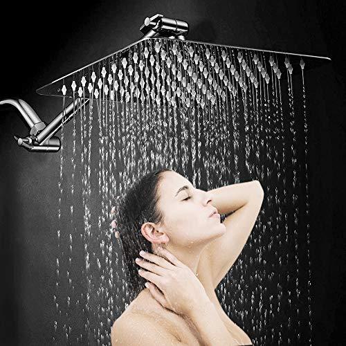 Suguword Solid Square ultra sottile 20,3cm regolabile soffione doccia con braccio doccia regolabile in ottone massiccio