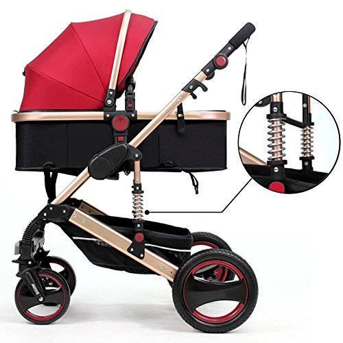 Belecoo Luxury Newborn Baby Foldable Anti-Shock High View Carriage Infant Stroller Pushchair Pram(Red)