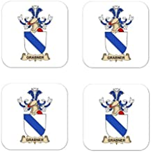 Grabner De Rosenberg Family Crest Square Coasters Coat of Arms Coasters - Set of 4