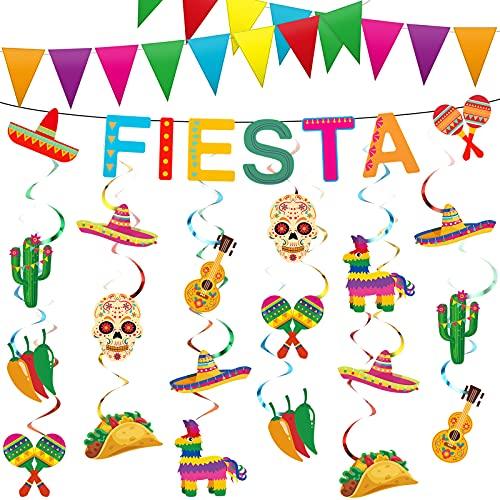23 Piezas Decoraciones de Fiesta Mexicana Cinco de Mayo Juegos de Remolinos Colgantes con Pancarta de Fiesta y Guirnalda de Banderines Triangulares para Taco Tuesday Baby Shower