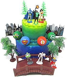 Super Hero Justice League Deluxe Birthday Cake Topper Set Featuring Super Hero Figures and Decorative Themed Accessories