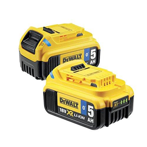 DeWalt DCB284B Vervangende accu's (18 volt, 5,0 Ah XR-accu met Bluetooth-technologie, met LED-laadvermogenindicator, probleemloos langdurig gebruik, 2 stuks