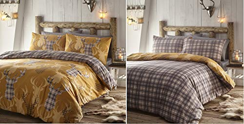 Portfolio Tartan Stag Quilt Duvet Cover Bed Set, Polycotton, Mustard, King
