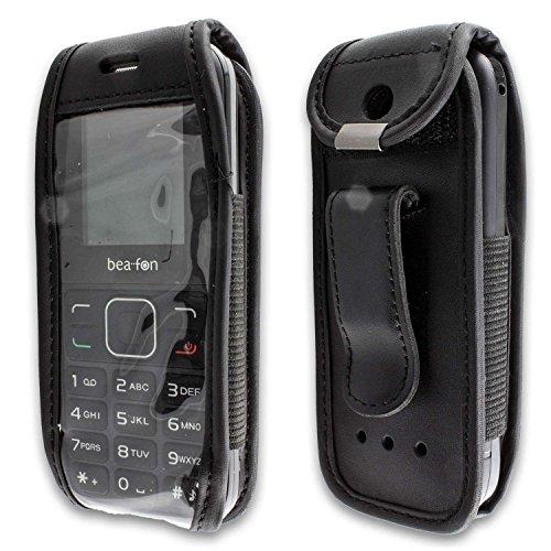 caseroxx Hülle Ledertasche mit Gürtelclip für Bea-fon C30 aus Echtleder, Tasche mit Gürtelclip & Sichtfenster in schwarz