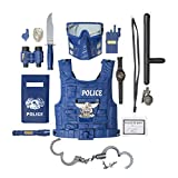 Kids Police Costume for Role Play 14 Pcs Police Toys with Police Badge, Kids Handcuffs, Shield, Vest, Flashing Light, Whistle, Police Baton - Police Officer Halloween Costume for Boys and Girls