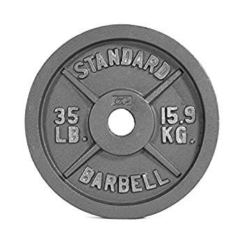 CAP Barbell Olympic 2-Inch Weight Plates Gray Single 35 Pound