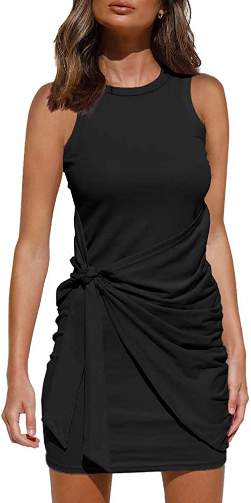 OWIN Women's Summer Casual Sleeveless Tank Dress Bodyco High material Latest item Crewneck