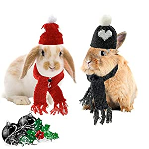 CooShou Small Pet Holiday and Christmas Hat Scarf 4Pcs in One Set Woolen Hats and Scarfs Christmas Small Animal Costume for Hamster Guinea Pig Rabbit Bunny Chinchilla Hedgehog and Other Similar Pet