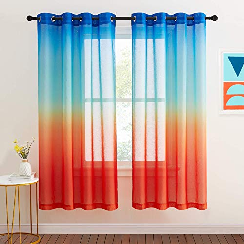 NICETOWN Navy and Orange Curtains 72 inch for Boys Room Decor, Hot Air Balloon Themed Sheer Curtains for Living Room Baby Nursery, Ombre Window Sheer Colorful Kids Curtains (55 inch Wide, 2 Panels)