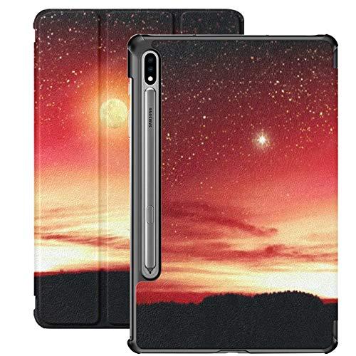 Funda para Galaxy Tab S7 Funda Delgada y Ligera con Soporte para Tableta Samsung Galaxy Tab S7 de 11 Pulgadas Sm-t870 Sm-t875 Sm-t878 2020 Release, Siluetas Árboles Red Sky Big Full