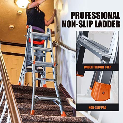 OT QOMOTOP 13 FT Multi-Position Telescoping Ladder for Home Use Roof RV Outdoor Activities, Easy to Move Aluminum Step Ladder with Non-Slip Design, 300lbs Duty Rating