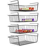 Under Shelf Basket, iSPECLE 4 Pack Wire Rack, Slides Under Shelves For Storage, Easy to Install, Black