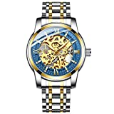 Original Mens Watches Skeleton Mechanical Watches for Men Automatic Slef-Wind Wrist Watch Luxury Stainless Steel Watch, Luminous Dial, 30M Waterproof (Gold Blue)