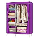 ZZBIQS Armario con compartimentos y bolsillo lateral, armario de tela con barras para ropa, almacenamiento para ropa, vestidor, dormitorio (morado)