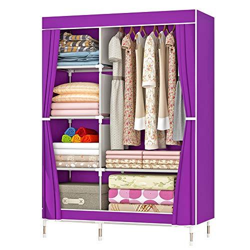 ZZBIQS - Armadio con scomparti e tasche laterali, in tessuto, con aste appendiabiti, per vestiti, guardaroba, cameretta, camera da letto (viola)