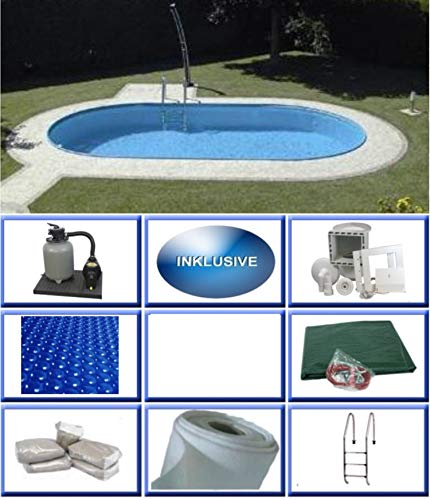 Summer Fun Stahlwandbecken Set Rhodos Exklusiv oval 3,20m x 6,00m x 1,50m Folie 0,6mm All Inklusive Set Pool Ovalpool / 320 x 600 x 150 cm Stahlwandpool