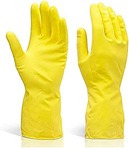 DeoDap Cleaning Gloves Reusable Rubber Hand Gloves Stretchable Gloves for Washing Cleaning Kitchen Garden Pack of 1 Pair Mix Color