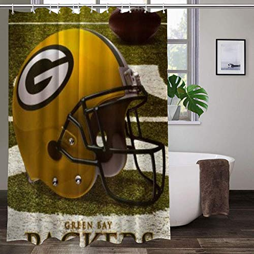 LAYENJOY Green Bay P-a-c-k-ers (52) Football Waterproof Curtain Bathroom Partition Shower Curtain Hooks Suitable for Shower Room Bedroom Bathtub(72x80 in)