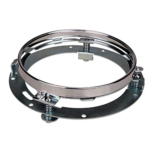 SUNPIE 7 inch Chrome Round Headlight Ring Mounting Bracket for Harley Motorcycle Headlight Mount
