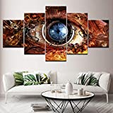 wanmeidp Pintura de Lienzo Lente de Ojo Abstracta futurista de Ciencia ficción 5 Piezas Arte de Pared Pintura Modular Papel Tapiz póster impresión decoración del hogar
