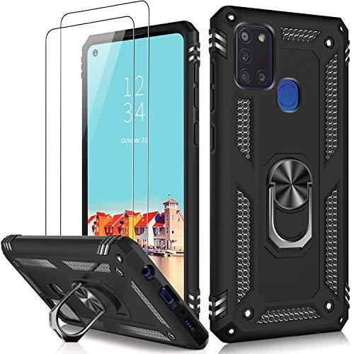 LUMARKE Galaxy A21S Schutzhülle, 5 m, Fallgetestet, Militärqualität, mit Magnetring, Ständer, kompatibel mit KFZ-Halterung, Schutzhülle für Samsung Galaxy A21S, Schwarz
