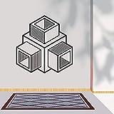 wZUN Decoración del Hotel extraíble Forma Abstracta Cubo patrón geométrico Mural Pegatina geométrica 57X58cm