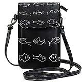 XCNGG Monedero pequeño para teléfono celular Fish Vector Icon Set Cell Phone Purse Wallet for Women Girl Small Crossbody Purse Bags