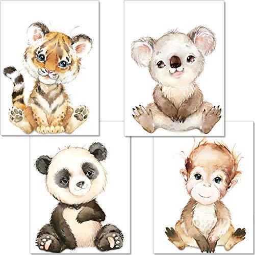 artpin® 4er Set Poster Babyzimmer Deko Junge Mädchen - DIN A4 Bilder Kinderzimmer Baby Dschungel Tiere - Safari Afrika Wandbilder - AFFE Tiger Koala Panda P66
