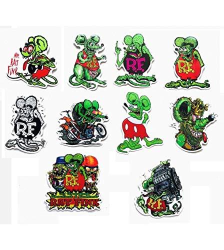 10pcs Big Daddy Head Ed Roth Graffiti Car Racing Rat Fink Decal Vinyl Stickers