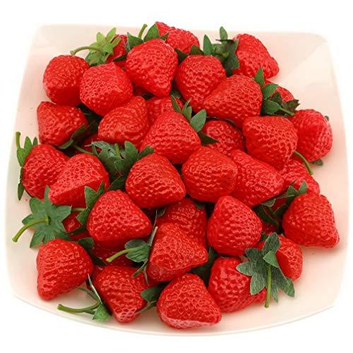 Gresorth 30 Stück Künstlich rot Erdbeere Fälschung Kunststoff Erdbeeren Früchte Christmas Dekoration