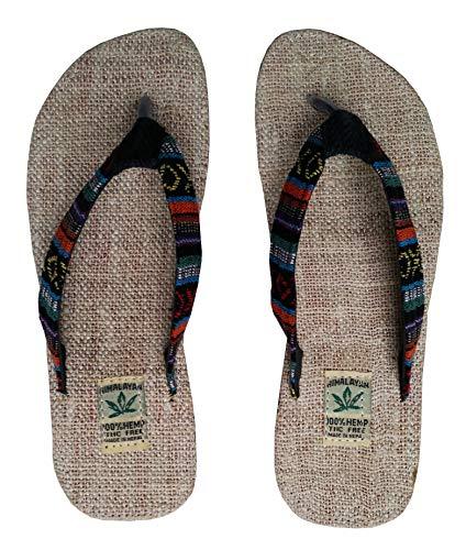 Handgemachte Flip Flops/Hausschuhe/Sandalen/Zehentrenner mit Fußbett aus natürlichem Hanf - Unisex - Made IN Nepal (37, Solar Eclipse)