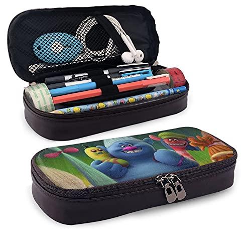 Trol-Ls - Estuche para lápices de gran capacidad con cremalleras dobles para bolígrafos, papelería, bolsa de maquillaje