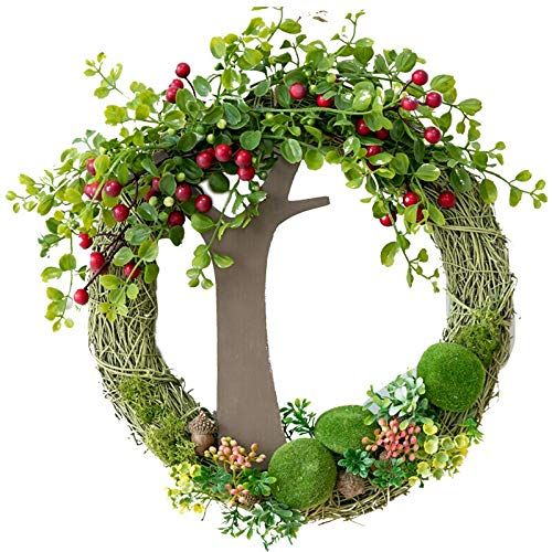 Door Wreath Artificial Garland Door and Window Decoration Living Room Children's Room Wall Artificial Flowers and Green Plants Red Berries Wall Hanging Garland 13 Inches Christmas Wreath Christmas / W