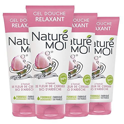 Naturé Moi – Gel douche relaxant à l'extrait de fleur de cerisier d'Ardèche bio – Hydrate, nourrit et protège les peaux normales à sèches – Lot de 4 – 200ml