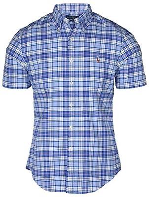 Polo RL Men's Slim Fit Button Down Short Sleeve Plaid Shirt
