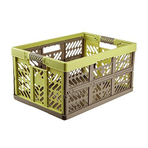 keeeper Robusto Box Contenitore Pieghevole con Impugnature Soft-touch, 54 x 37 x 28 cm, 45 L, Ben, Verde/Marrone