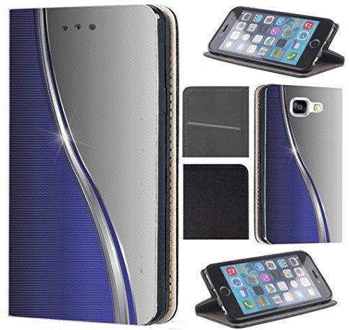CoverHeld Hülle für Samsung Galaxy A3 2017 A320 Premium Flipcover Schutzhülle aus Kunstleder Flip Case Motiv (1164 Abstract Blau Grau Silber)