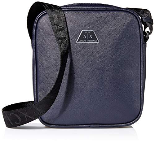 Armani Exchange Herren Zip Top Reporter Business Tasche, Blau (Navy - Navy), 22.5x5.5x19 cm