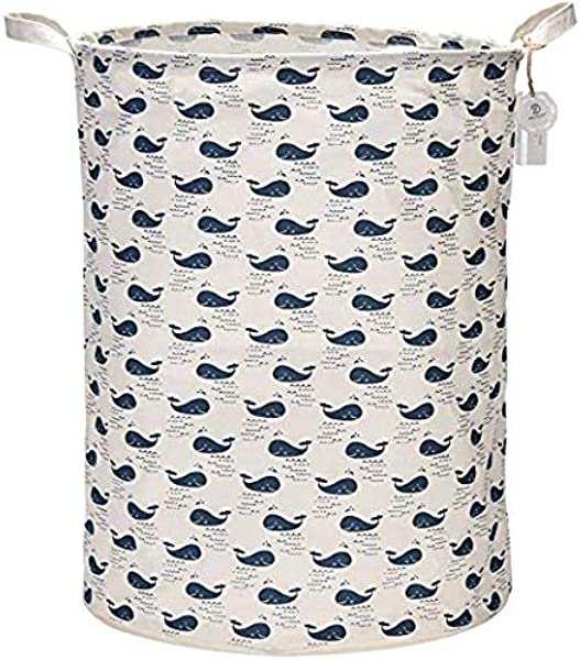 Sea Team 21 7 Oversize Linen Cotton Fabric Folding Nursery Laundry Hamper Bucket Cylindric Burlap Canvas Storage Basket With Waterproof PE Coating Lining Whale