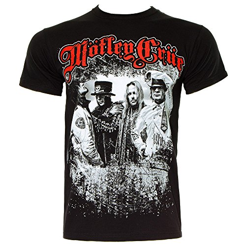 T Shirt Dei Motley Crue Scatto Band (Nero) - Large
