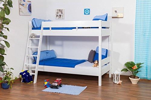 Kinderbett Etagenbett Martin Buche Vollholz massiv weiß lackiert inkl. Rollrost - 90 x 200 cm, teilbar